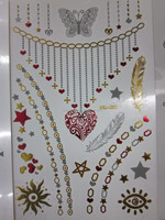 hot-selling necklace temporary flash bling metallic tattoo,gold and silver tattoo stickers