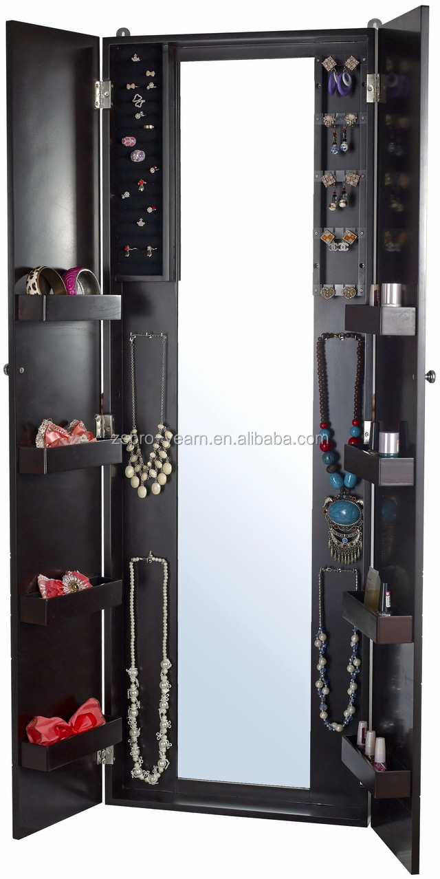 Wall mounted wooden mirrored jewelry cabinet with dressing