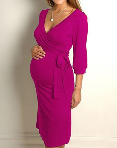 Womens Knee Length Long Sleeve Nursing And Maternity Dress Plus