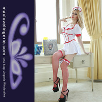 ML5358 New Arrival Women's White PVC Sexy Latex Nurse Costume