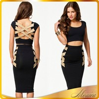 The New European And American Fashion 2015 Together Sexy Dress Zipper Chest Couture Bandage