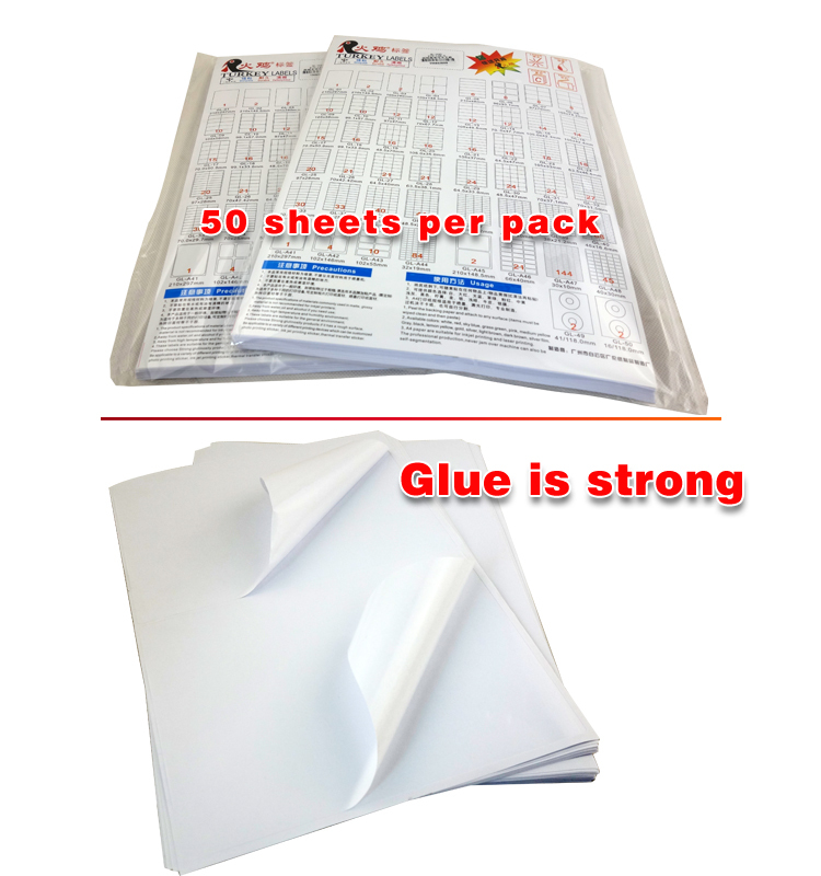 A4 Label Stickers paper small size 52.5mm*29.4mm Self Adhesive Labels
