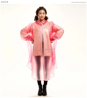 pvc hooded scooter long poncho for adult rain cover
