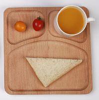 Eco-Friendly Children Wooden Tray Baby Dinnerware Split Design Kids Snacks Dessert wooden plate dish tray 9.0inches