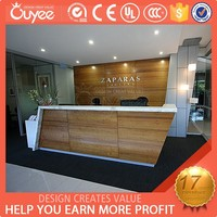 Customized Fashion Style MDF front counters table / reception counter with glass / restaurant cashier desk