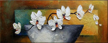 2015 New and Hot Design Hand Paintied Knife Paintings Orchids Oil Painting on Canvas
