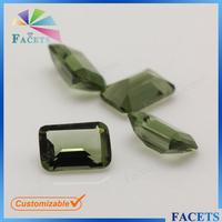 FACETS GEMS Loose Fake Gemstone Peridot Emerald Cut Glass Gems