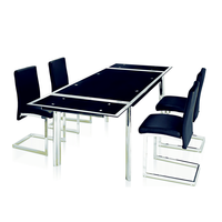 Modern extendable tempered glass dining table