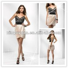 Black Lace Spaghetti Sweetheart Column Ruffles Backless Cocktail Dresses Prom Gowns P2686