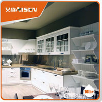 Copy solid wood style no craze problem no paiting high quality pvc kitchen cabinet