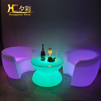 Chargeable LED Light Up Plastic Furniture Bar Dining Table