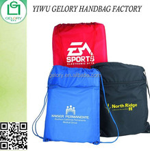 Durable Promotion Zip Drawstring Sports Back Sack Two-tone waterproof Polyester sling cinch bag