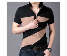 2015 mens color comination short sleeve polo t shirt designs