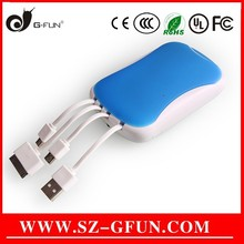 high quality fast charging power bank with multi usb cables Shenzhen factory