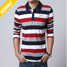 Charming Quick Dry Embroidered Logo Men black and Red stripe Polo Top Quality