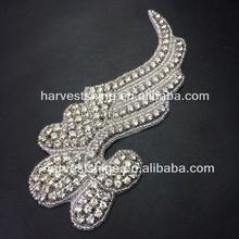 Generous Rhinestone Appliques For Wedding Dresses,Feather Shape Patch,Vintage Beaded Applique For Bridal Sash