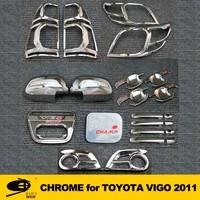 Complete Full Set of Exterior Chrome accessories with 3M Tape fitsTOYOTA VIGO 2011 chrome car accessories
