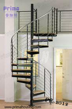Good quality stainless steel spiral staircase/Strong solid wood tread spiral stairs /Staircase (PR-2012)