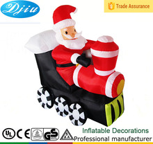 DJ-197 6ft inflatable outdoor led christmas decoration santa claus musical train