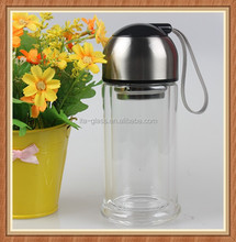 Hot water use unbreakable travel sport use double wall 200ml glass water bottle