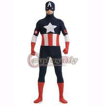 Captain America Costume Adult Men Bodysuit Zentai Superhero Cosplay Costume For Halloween Carnival