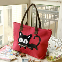 women handbag Casual Canvas Bag Cute Cat Shopping Bag Office Lady Lunch Bag