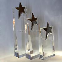 K9 crystal trophy with metal star on top