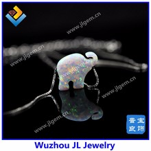 Wholesale White Opal Elephant , Opal Stone Elephant Price 925 sterling silver opal pendant