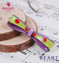 Fashion hair accessories for teenager girls plastic ribbon bow hair clip acetate hairgrips