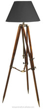2015 top selling natural wooden tripod 3 legs floor lamp with black lampshade SAA UL CUL certificated household furniture