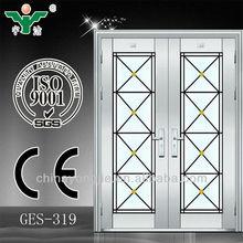 China Sale Security Stainless Steel Doors Desin double door with glass