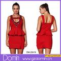 Nueva llegada de bordar ultimo diseño peplum Dress