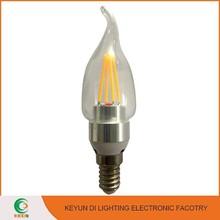 CE RoHS E14/E27/B22 Aluminium & Plastic 4W Candle Light Gold Silver Led Filament Candle Bulb
