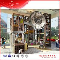 children clock tower themed indoor playground seesaw