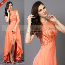 High slit long chiffon evening dress with sleeves latest dress designs for women