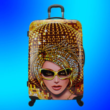 China supplier rigid priting trolley ABS PC luggage with full color Sublimation pattern, hard shell suit case, hardside suitcase