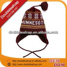 Wholesale custom acrylic winter beanies with earflaps