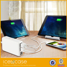 Multiple port USB wall charger with intelligent detecting system