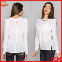 2015 New office blouse design long sleeve chiffon blouse for women