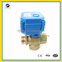 3-way DC12V T flow wires control Motorized valve with male thread for HVAC System