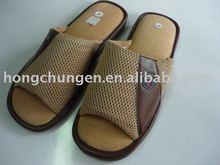 Mens summer leather indoor slipper air mesh open toe slipper