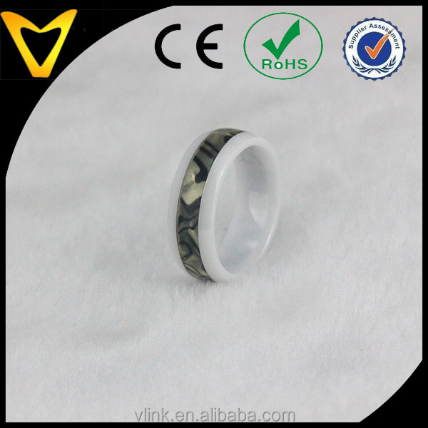 natural mother of pearl inlaid ceramic ring wedding band