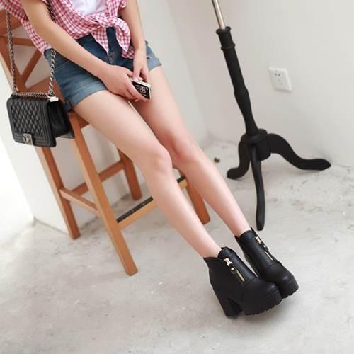 2015 году личность платформ 4 см комфортно женщин Полусапожки на круглый мыс ультра высокие каблуки мотоцикла сапоги для женщин