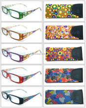 Cheap reading glasses with marketing packing case neck hang strape