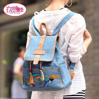9213MX057 New female women ethnic brief canvas backpack school Lady girl student school Travel laptop bag cotton embroidery back