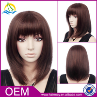Cheap american style synthetic dark brown long straight wig women straight hair 2015