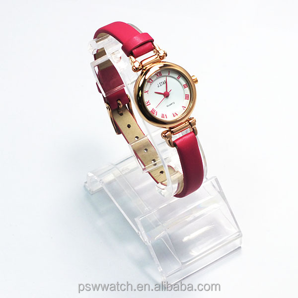 2014 new style hot sale rose gold leather pink hand watch for girl