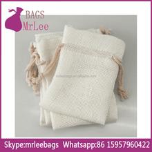 Custom MINI WHITE drawstring JEWELRY jute linen bag pocuhes on stock