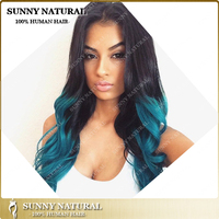Fashion&High Quality 100% Human Hair 1B/Blue Ombre Peruvian Lace Front Wig full lace wig
