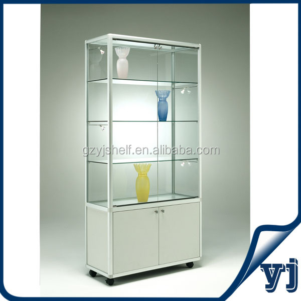 High Grade Mdf Free Standing Glass Display Cabinet With Led ...